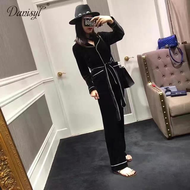 2017 spring autumn top quality fashion streetwear velvet pleuche long sleeve women suit set pajamas style sashes coat pants sets