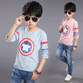 2016 мальчиков младенца футболки весна осень мультфильм детская одежда дети с длинным рукавом футболки мальчик топы тис