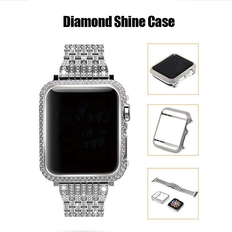 SIKAI diamant Shine 40mm 44mm boîtier de montre pour Apple Watch 4 protection luxe mode haut de gamme couverture de montre pour iWatch 4 Shell