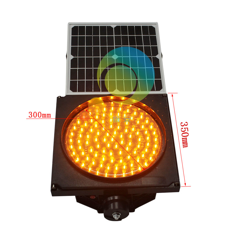 Hot Selling Waterproof Solar Power 300mm Yellow LED Flashing Light Warning Traffic Signal Light
