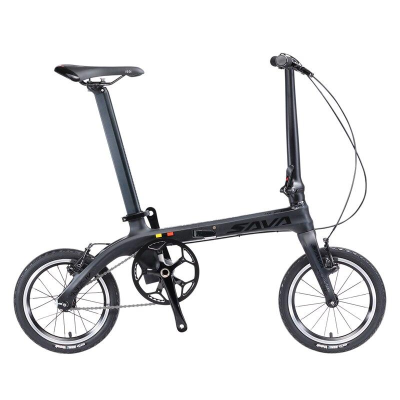 SAVA Folding Bike Mini Folding Bicycle 14 Inch Carbon Fiber Child Bike Mini City Urban Bicycle Foldable Bike With Headlights