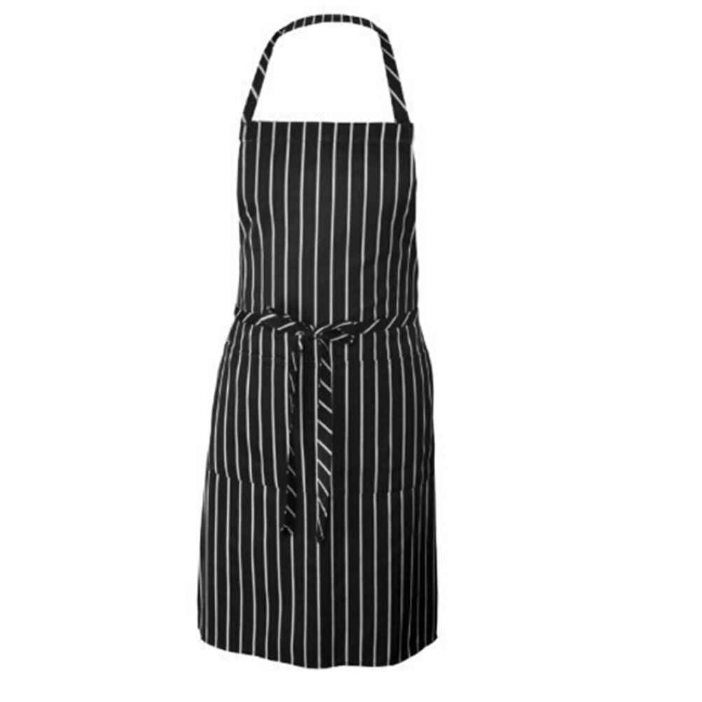 1Pcs Adjustable Black And White Stripe Bib Apron with 2 Pockets Chef Waiter Kitchen Cook Kitchen Apron Wholesale