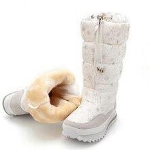 Большие размеры женские зимние сапоги женские зимние ботинки теплая водонепроницаемая Botas Mujer черные и белые сапоги bota feminina для-40 градусов
