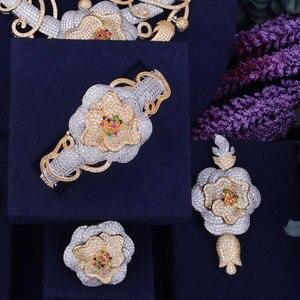 Image 3 - GODKI Luxury Flower Boom Women Nigerian Bridal Naija Bride Cubic Zirconia Necklace Dubai 4PCS Jewelry Set Jewellery Addiction