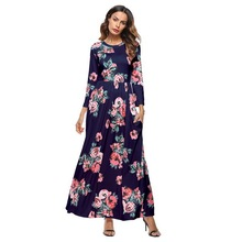 NIBESSER Women Party Long Dress Fashion Boho Floral Print Sundress Plus Size Woman Clothes Casual O Neck Tunic Beach Maxi Dress