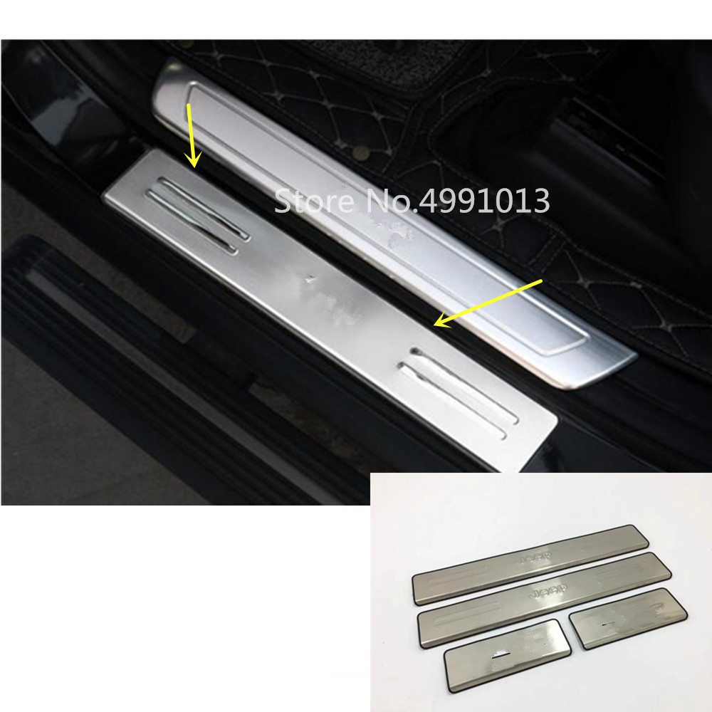 For Jeep Grand Cherokee 2014 2015 2016 2017 2018 car body pedal door sill scuff plate cover external threshold 4pcs Car Stickers     - title=