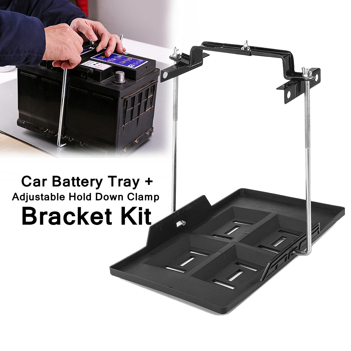 35 5x20cm Metal Car Battery Tray Adjule Hold Down Clamp Bracket Kit Cycle Construction Universal Recessed Slots Design
