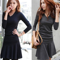 2014 New Direct Selling Casual Full Dresses Vestidos Excellent Women's V-neck Slim Ruffle Plus Size Dress Long-sleeve Basic