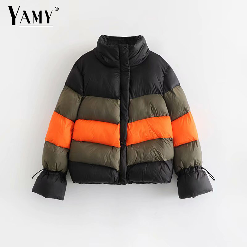 Color block winter jacket women padded jacket parkas jaqueta feminina Korean womens winter fashion 2018 chaqueta mujer