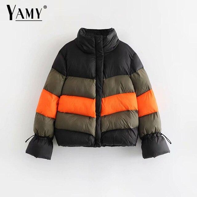 Big Sale Color block winter jacket women padded jacket parkas jaqueta feminina Korean womens winter fashion 2018 chaqueta mujer