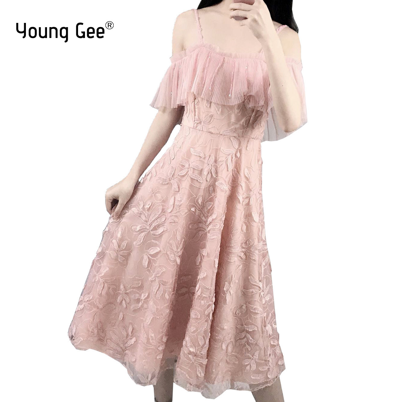 Young Gee Women Elegant Lace Floral Embroidery Midi Dresses Sexy Spaghetti Strap Crystal Beading Pink Off