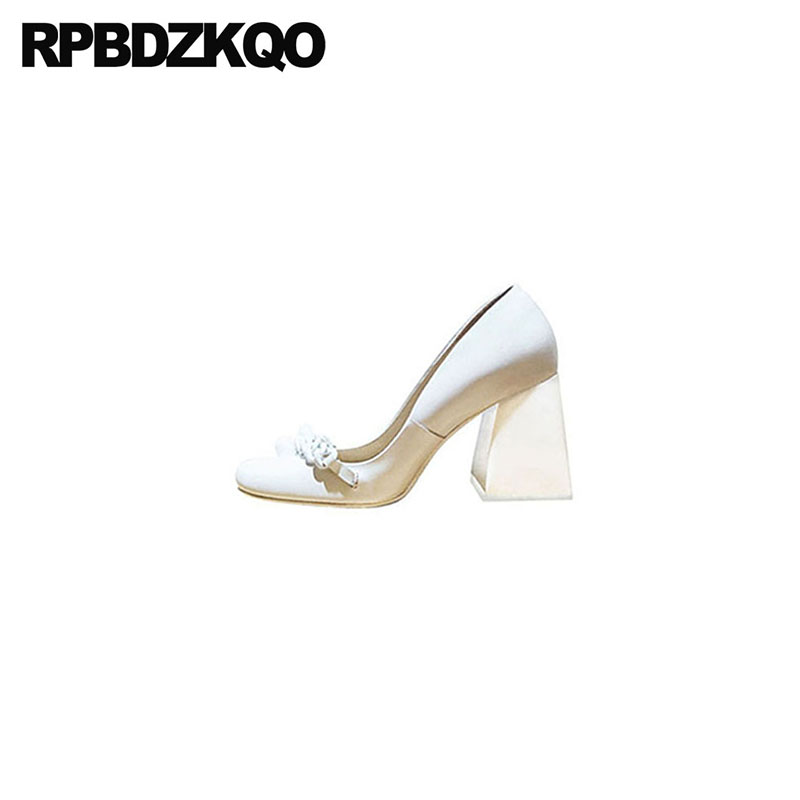 10 42 Genuine Leather Brand Block Ladies Pumps Size 33 Square Toe 3 Inch High Quality Sexy White Heels Shoes Big 2018 Customized