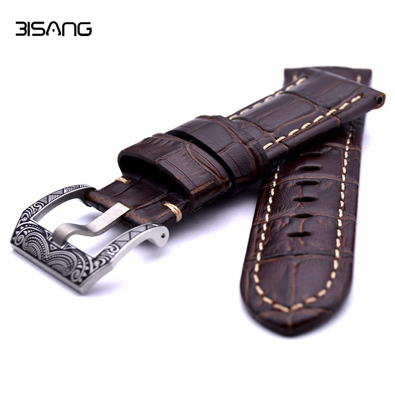 High Quality Leather Watch Strap For PAM 22/24mm Black/Brown Genuine Leather Band Silver Pin Buckle new arrive top quality oil red brown 24mm italian vintage genuine leather watch band strap for panerai pam and big pilot watch