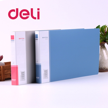 Deli 1PCS Bill File Folder PP Filling Products with Clip Invoices Holder Document Organizer Bag Folders Storage Office Supplies elastic bill bag business office plastic bill fold expanding pocket folders as bill holder