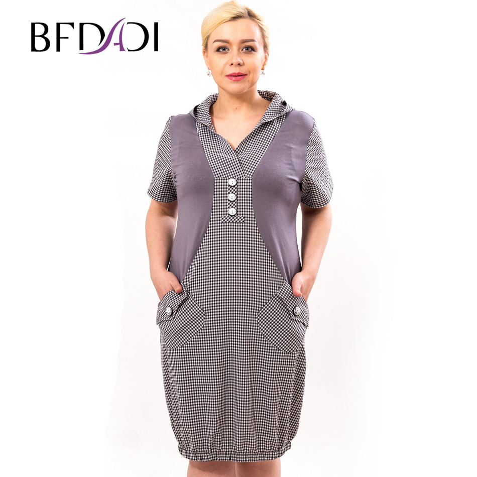Bfdadi plus size dress women casual dress vestidos verano vestidos sueltos para las mujeres 2016 ...