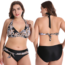 New Plus Size Bikini Women Swimsuit Floral Print Bathing Suit Gather Cup Swimwear 50-58 High Waist Backless Halter Bikini Set plus size halter neck printed high waist bikini set for women