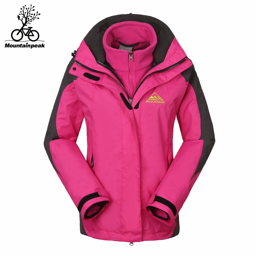Women Softshell Jackets Winter 2pieces Set Inner Fleece Female Hiking Jacket Windproof Waterproof Thermal Cycle Climbing Jacket