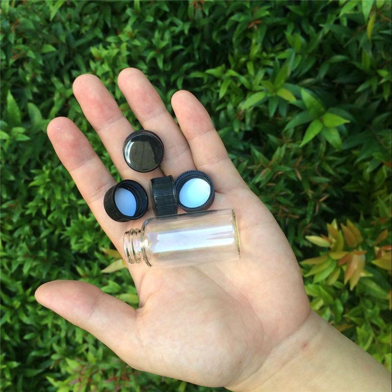 27*70*14mm 25ml Glass Bottles With Plastic Lid Transparent Empty Glass Gift Bottles Jars Black Cap 50pcs/lot