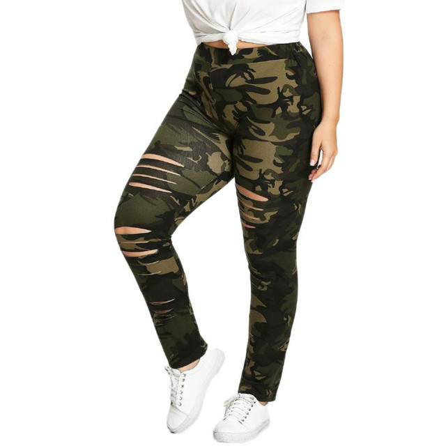 d68d691c8f3e2 Army Green Camouflage Leggings Women Plus Size 5XL Fitness Leggings  Clothing Print Hole Casual Sexy Workout