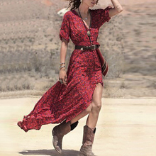 2017 Fashion Women Summer Dress Casual Sexy V Neck Belted Split Maxi Long Vestidos S M L Red Boho Style Party Dresses