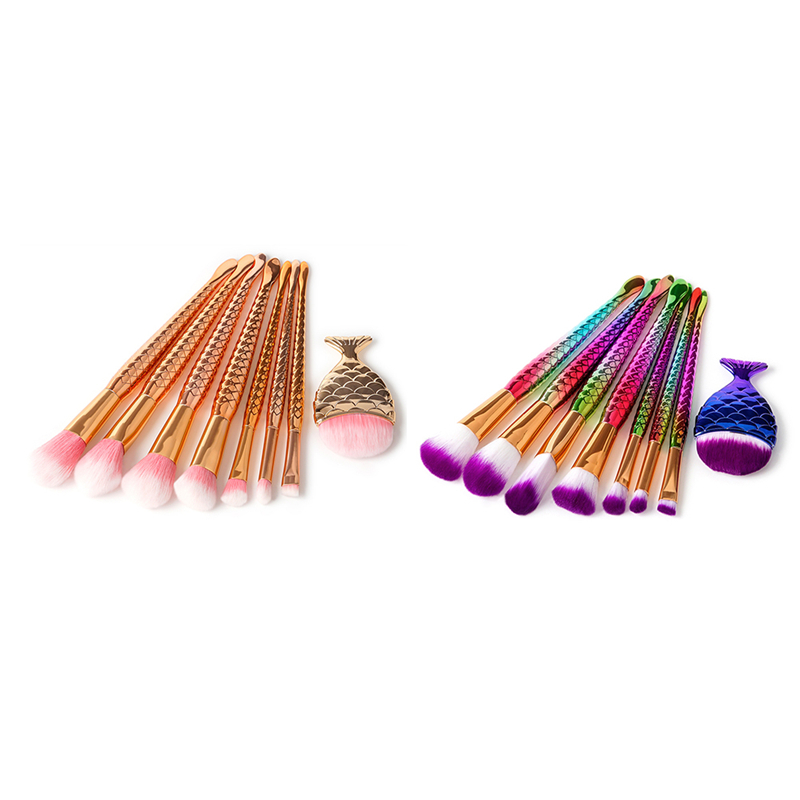 8Pcs Mermaid Shaped Makeup Brush Set Big Fish Tail Foundation Powder Eyeshadow Make-up Brushes Contour Blending Cosmetic Brushs 4pcs mermaid shaped makeup brushes set big fish tail foundation powder make up brushes eyeshadow blush fish brush cosmetic tools