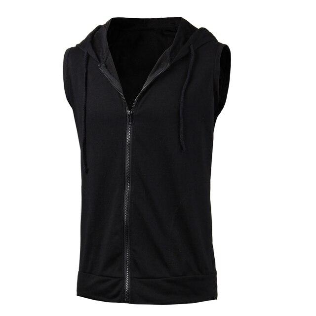 6eb2e9a362cc9 2018 Fashion Summer Mens Sleeveless Zipper Vest Jacket Casual Zip Up Hoodie  Hooded Sweatshirt Tank Tops Outwear Men Shirt