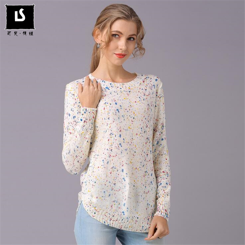 Women Sweaters Pullovers Autumn Winter Clothes Hem Curved Design Long Sleeve Knit Fashion Print Sweater Slim Casual Women Tops