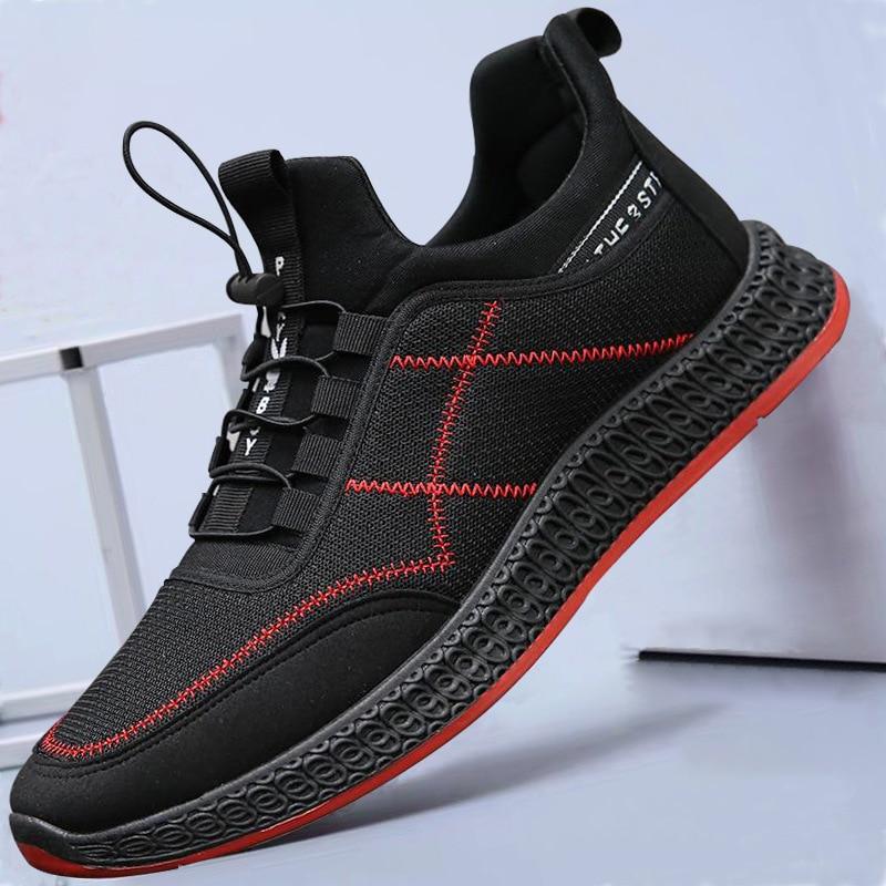Novos Lace Tênis Casuais Red E White Malha Shoes Sapatos up Caminhada Para Leve Black Confortável Respirável black Homens nSHxfn