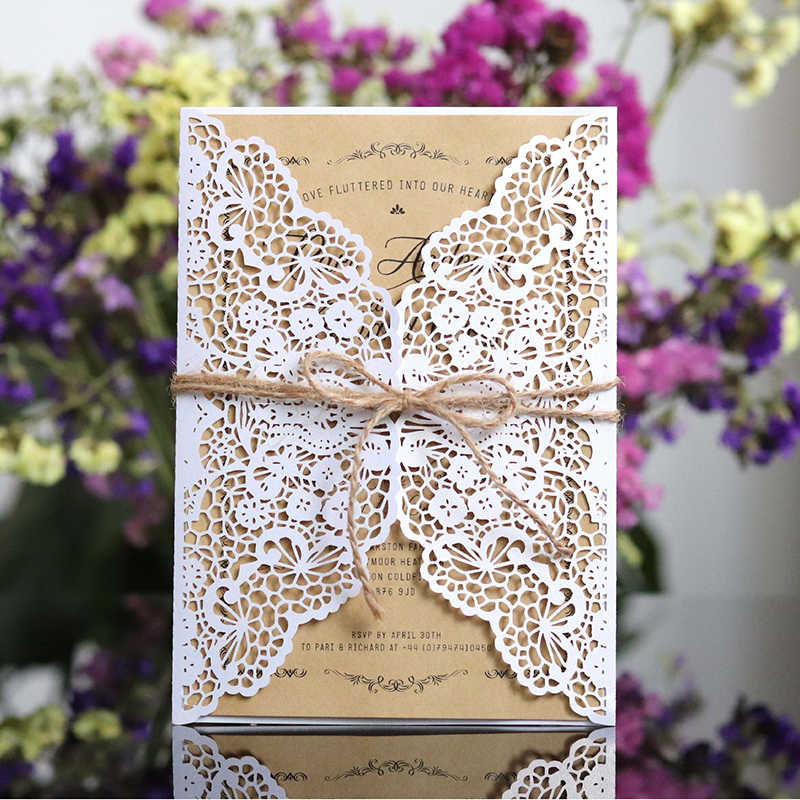 1pcs White Gold West Cowboy Style Elegant Laser Cut Vintage Wedding Invitation Card With Kit Blank Paper Printing Party Supplies