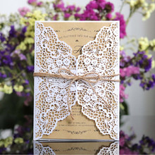 1pcs White Gold West Cowboy Style Elegant Laser Cut Vintage Wedding Invitation Card With Kit Blank Paper Printing Party Supplies(China)