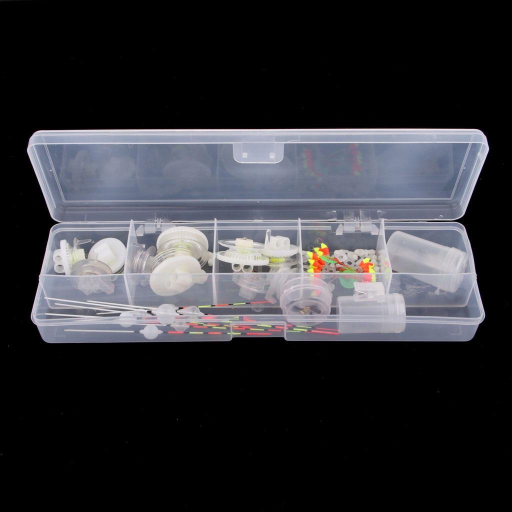 Fishing Equipment Box Fishing Tackle Box Set With Ice Fishing Reels Spinning Fishing Line Sinker Slides Connector Fishing Kit