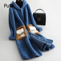 PUDI B181199 women's winter warm real wool jacket vest genuine leisure girl coat lady jacket overcoat
