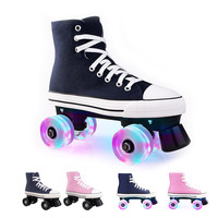 JK Professional Adult Quad Skates Double Row Roller Skates Unisex Canvas Shoes For Lovers Two Line Flashing Wheels Patines SP4