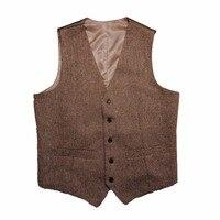 2016 Vintage Dark Brown Tweed Vests Wool Herringbone British Style Custom Made Mens Suit Slim Fit
