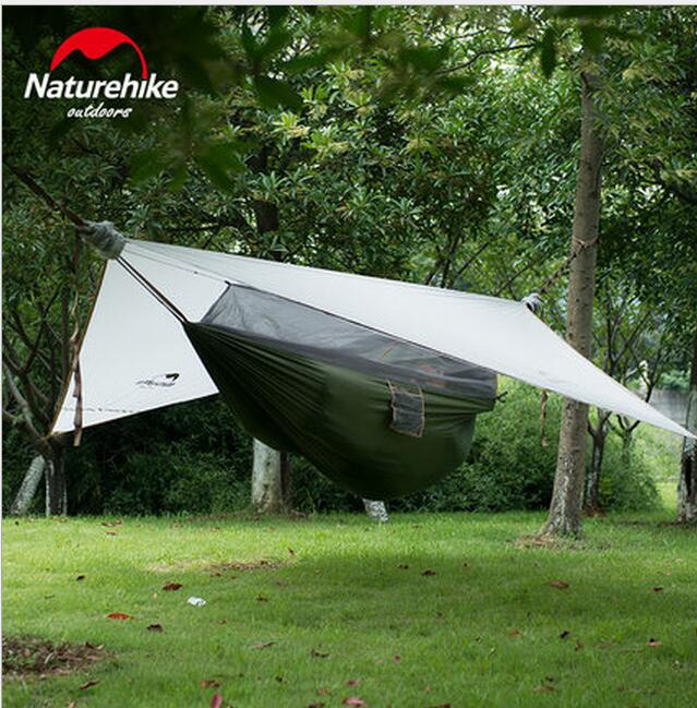 Naturehike 1 person Hammock With Awning Camping Hanging Tent 20D Silicone Waterproof Hammock Outdoor Ultralight Hiking Camping 2 people portable parachute hammock outdoor survival camping hammocks garden leisure travel double hanging swing 2 6m 1 4m 3m 2m