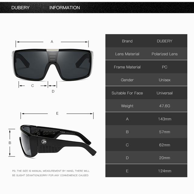 DUBERY 2018  Sunglasses  Men Sport Goggle Oversized Sun Glasses For Men Retro Frame Reflective Coating Brand Luxury Oculos UV400