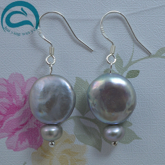 Gary Natural Pearl Earrings 6 14mm Big Size Round And Coin