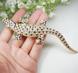 Image 3 - Vintage Gecko Del Pendente Animale Donna Coccodrillo Spilla Spille Chiaro di Cristallo Lucertola