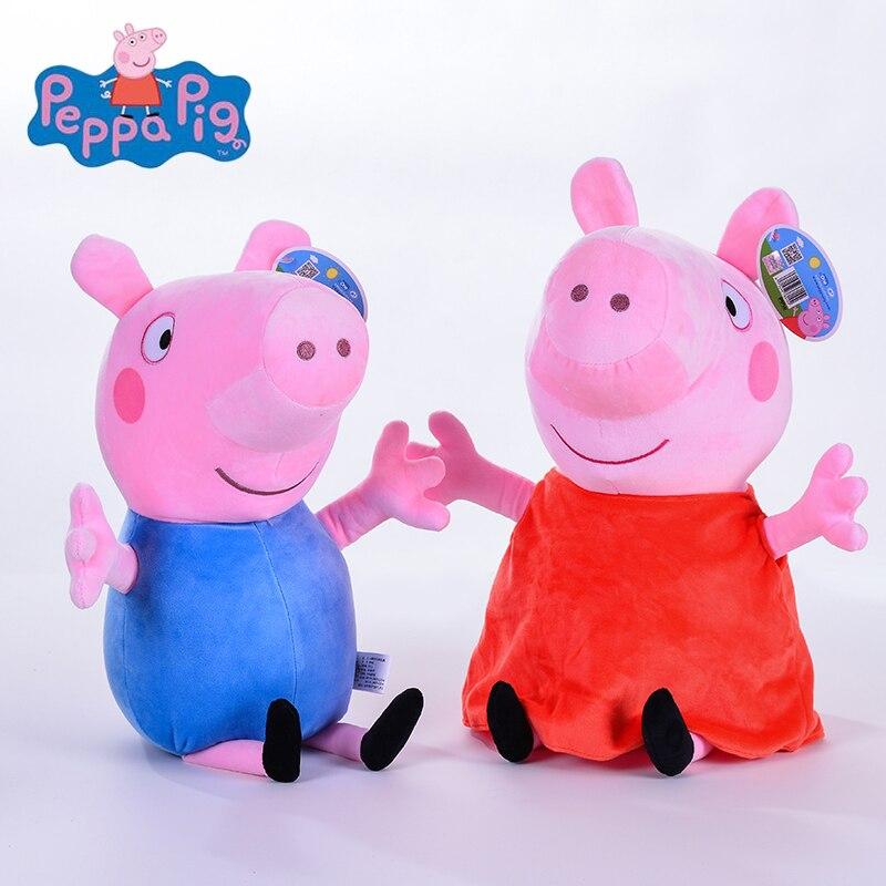 Genuino 2 unids/lote 46 cm de alta calidad de peluche de cerdo Rosa Peppa pig Venta caliente corto Floss caricatura Animal muñeca para regalo de los niños