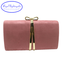 Royal Nightingales Bow Tie Box Clutch Pink Suede Evening Bags and Evening Handbags for Womens Party Prom Red Green Yellow