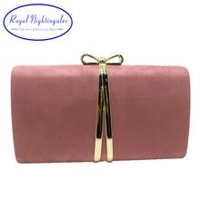 Sacs à main en daim rose pochette, boîte de nœuds papillon, sacs à main de soirée, soirée royale pour femmes, bal, rouge vert jaune