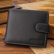 Neue Männer Schwarz/Braun trifold Geldbörse Aus Echtem Leder mit Kartenhalter Freies Verschiffen