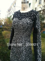 Real Picture Hot Sale!Elegant Beaded Round Collar With Long Sleeve Cocktail Dress 2014 Sexy Short  Prom Party Gowns