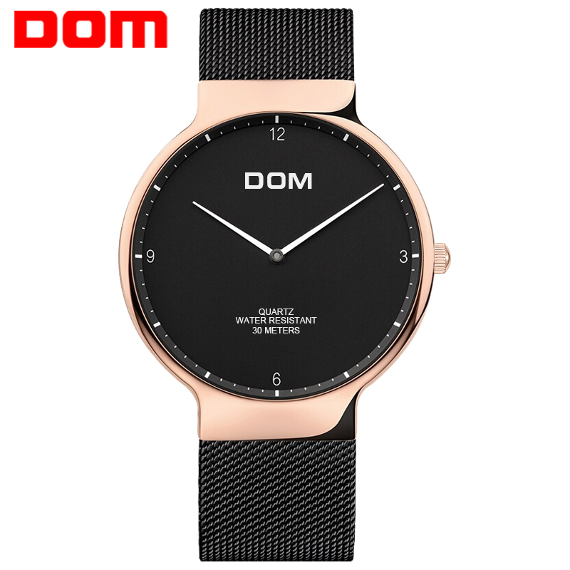 Men Watches DOM Brand Top Luxury Man Watch Ultra Thin Stainless Steel Mesh Band Quartz Wristwatch Fashion casual M32GK1MS 2016 new hot ultra thin relojes fashion dress watches steel metal mesh band watch for kids man