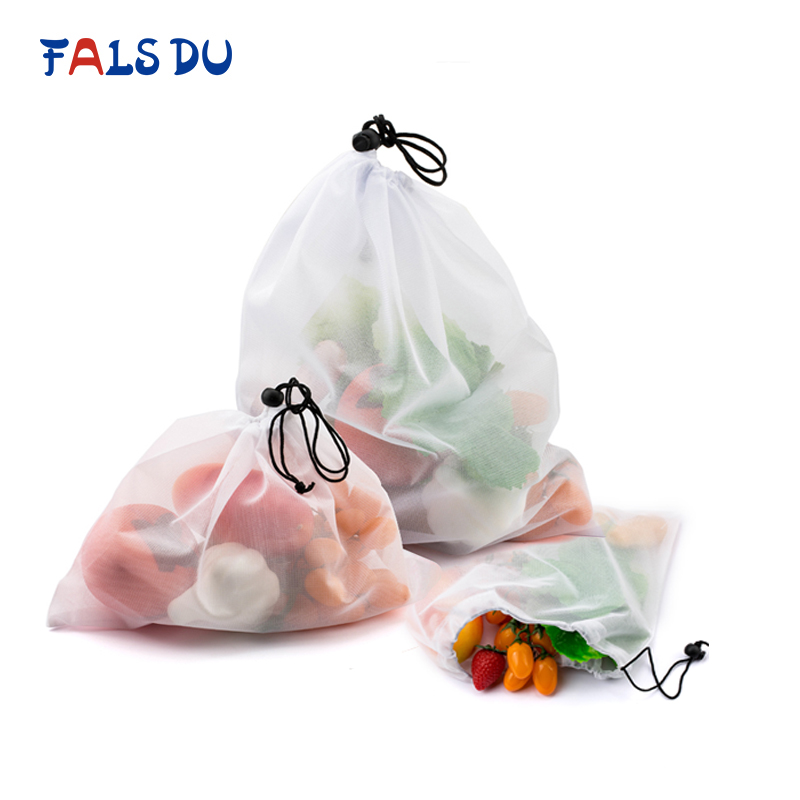Produce-Bags Shopping-Storage-Toys Fruit-Mesh Vegetable Grocery Washable 15pcs For Sundries