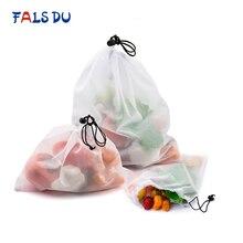 15 шт многоразовые сетчатые мешки для овощей и фруктов, моющиеся экологически чистые сумки для хранения продуктов, игрушек, мелочей