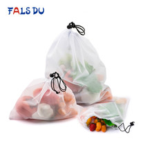 Reusable Vegetable Fruit Mesh Produce Bags Washable Eco Friendly Bags for Grocery Shopping Storage Toys Sundries(China)