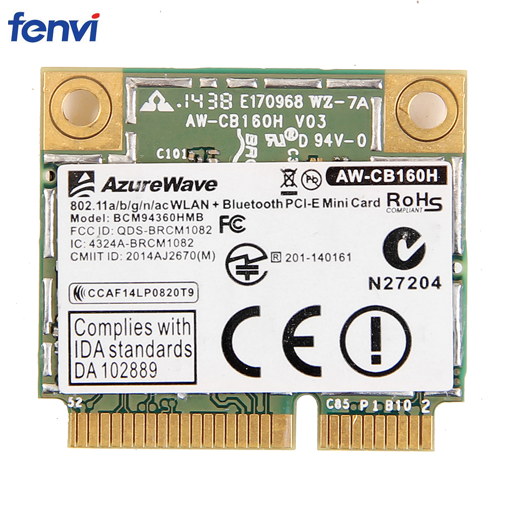 Double bande 1300 Mbps Broadcom BCM94360HMB Mini PCI Express sans fil carte Wifi 802.11ac Bluetooth 4.0AW-CB160H 3x MHF4 antennes
