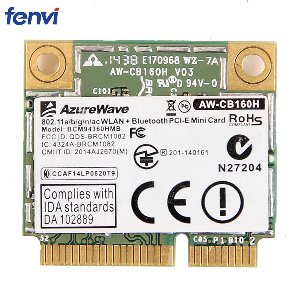 Dual Band 1300Mbps Broadcom BCM94360HMB Mini PCI Express Wireless Wifi Card 802.11ac Bluetooth 4.0AW-CB160H 3x MHF4 Antennas