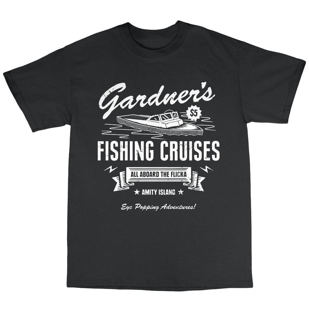 Gardners Fishinger Cruises T-Shirt 100% Cotton Ben Gardner Quint Shark T Shirt Fashiont Shirt Free Shipping Top Tee